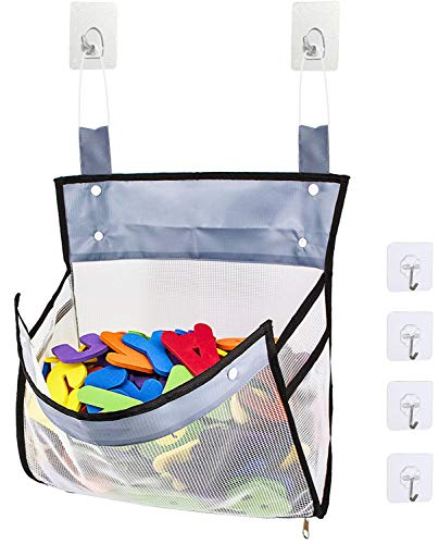 Rovvy Bottom Zippered Tub Bath Toy Organizer with 2 Side Pockets,Large Opening Bathtub Shower Toy Organizer with 6 Sticker Hooks for Holding Toys,Baby Diapers,Clothes
