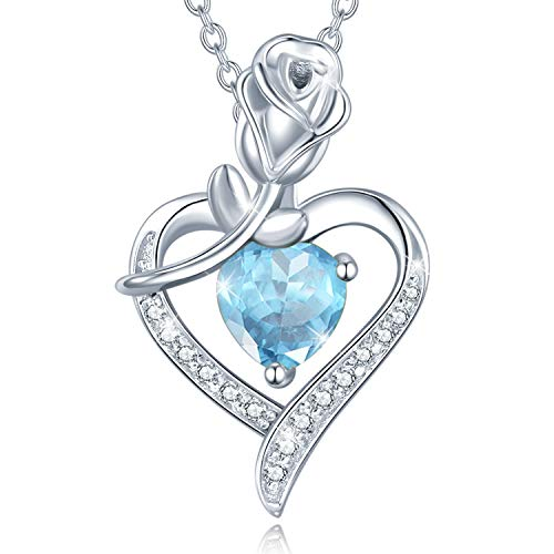 FANCIME 925 Sterling Silver March Birthstone Necklace Rose Heart Pendant Aquamarine Necklace with Beautiful Jewellery Box Christmas Birthday Valentine's Day Anniversary Present for Women
