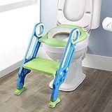 1-1 वर्ष के बच्चों के लिए सीढ़ी सीढ़ी के साथ YISSVIC चाइल्ड टॉयलेट सीट फोल्डेबल और एडजस्टेबल टॉयलेट रेड्यूसर सीढ़ी बाल शौचालय