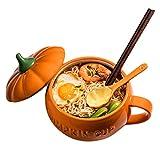 Lindo Cuenco De Ramen De Cerámica De Calabaza, Cuencos De Cerámica Japoneses para Ensalada, Cuenco De Sopa Grande De 850 Ml / 1350 Ml para Pasta/Arroz/Fideos (Color : Orange, Size : 12.5 * 8.7cm)