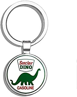 PRS Vinyl Round Vintage Sinclair Dino Gas (Gasoline Logo Old Rat Rod) Double Sided Stainless Steel Keychain Key Ring Chain Holder Car/Key Finder