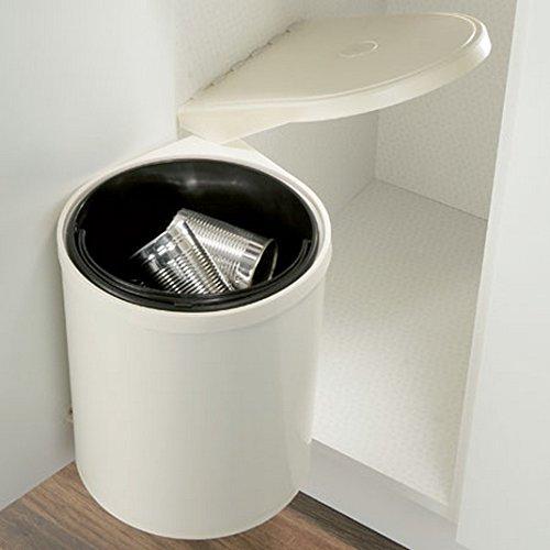 Papelera de armario, 10litros, se abre la tapa al abrir la puerta, color crema