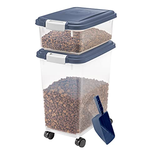 dog food containers IRIS USA 3 Piece Airtight Pet Food Storage Container Combo, Navy Blue MP-8/MP-1/SCP-2, 33-Quart and 12-Quart