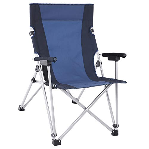 SONGMICS Campingstuhl, Klappstuhl, Outdoor-Stuhl mit komfortablem Sitz, stabiles Gestell, bis 150 kg belastbar, schwarz-dunkelblau GCB12QG