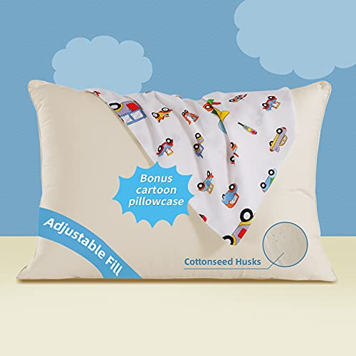 Lofe Organic Toddler Pillow with Cartoon Pillowcase - 13X18 100% Organic Cotton Shell Baby Pillows for Sleeping - Machine Washable - Adjustable Loft - Soft Safe Hypoallergenic - for Kids&Infant&Travel