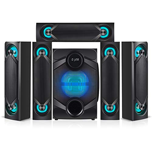 """Nyne NHT5.1RGB 5.1 Channel Home Theatre System – Bluetooth, USB, SD, RCA Outputs Inputs, 8 Inch Active Subwoofer, 6"""" Passive Radiator, LCD Digital Display, Wireless Remote (Black, Home Theater)"""