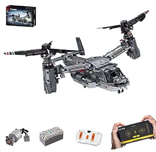 KEAYO Technik V-22 Osprey Helicopter, Technik Helikopter Ferngesteuert mit Fernbedienung und Motor, Technik Flugzeug Bausatz Kompatibel mit Lego Technik
