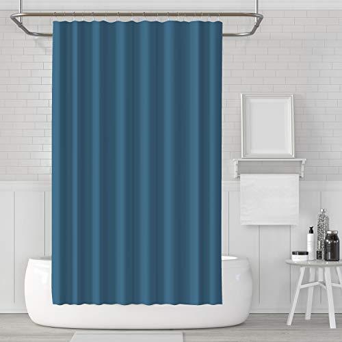 LACO RICH - Dekorativer Duschvorhang, Duschvorhang-Set aus blauem Stoff mit Haken, schimmelresistent, waschbar und wasserdicht Duschvorhang für Badezimmer mit der Größe 72x72 Zoll