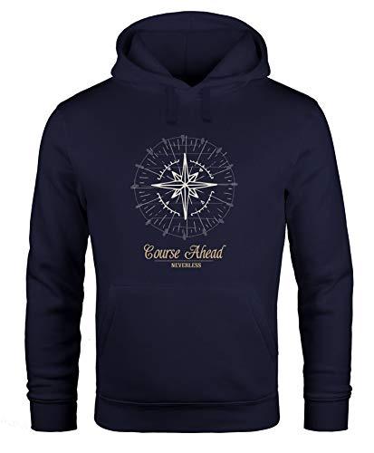 Neverless Hoodie Herren Kompass Windrose Navigator Segeln Kapuzenpullover Sweater Männer Navy M