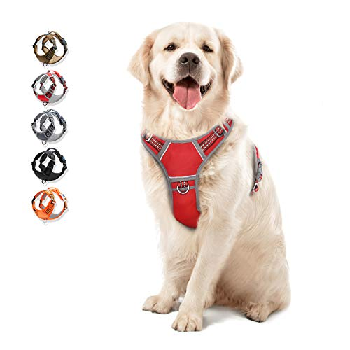 WALKTOFINE Dog Harness No Pull Reflective, Comfortable Harness with Handle,Fully Adjustable Pet Leash Vest for Small Medium Large Dog Breed Car Seat Harness Red L