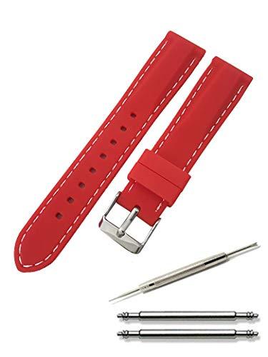 腕時計 シリコン ベルト 時計 ラバー バンド カラーステッチ 16㎜ 18㎜ 20㎜ 22㎜ 24㎜ 交換説明書付 22㎜, レッド