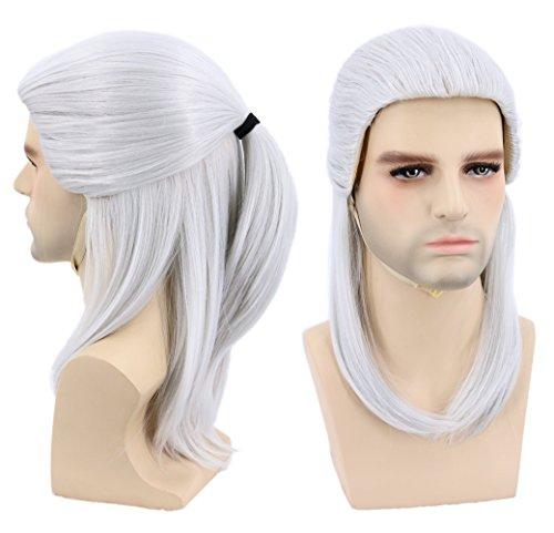 Topcosplay Peluca Gris Plata para Hombre Geralt Of Rivia Peluca se Inspira en The Witcher Larga Recta Peluca para Disfraz de Halloween Fiestas