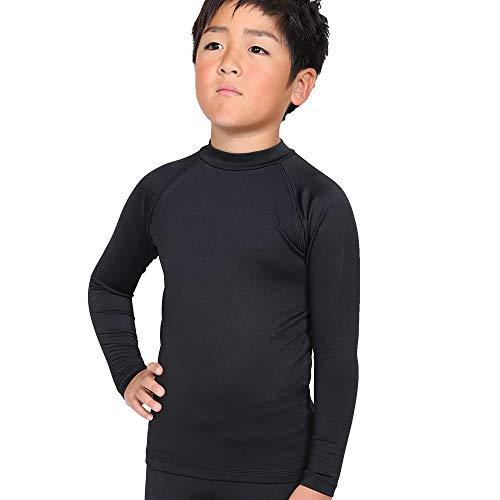 FELLOW ホットラッシュガード 長袖 ロングスリーブ 保温インナー キッズ サーフィン 蓄熱 保温 速乾 裏起毛 UPF50+ 紫外線予防 ウェットスーツ セミドライ BLACK 80cm