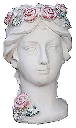 LIUBINGER Escultura Maceta al Aire Libre Estatua Venus Goddoss Cabeza Arte Escultura Ornamentos de jardín Decoración de césped Figuras Figuras Jarrón Decoración para el hogar Regalos Manualidades