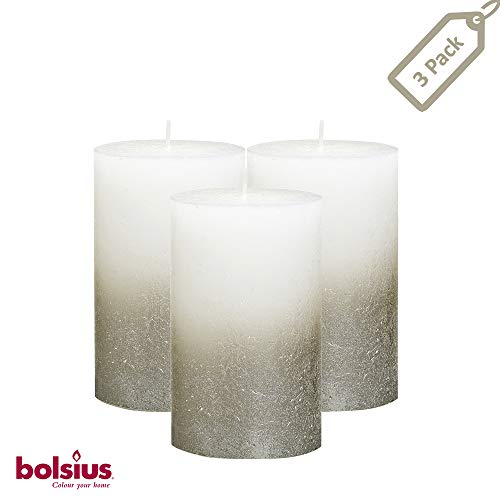 BOLSIUS Rustic Unscented Pillar Candles - White with Silver Coated Bottom Decorative Candles Set of 3 -Burning Dripless Dinner Candles for Wedding & Home Decor Party Spa- Approx 5'X2.75' (130/68m)
