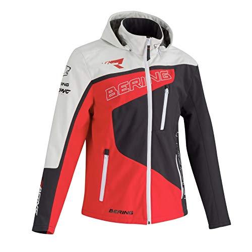 BERING Softshell Racing Motorradjacke Grau Rot Weiß XL