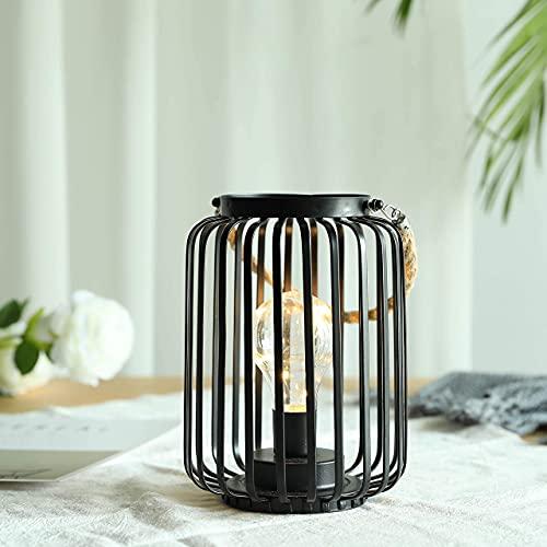 JHY DESIGN 19cm di altezza Lampada decorativa a gabbia metallica Batteria caricata Luce bianca calda...