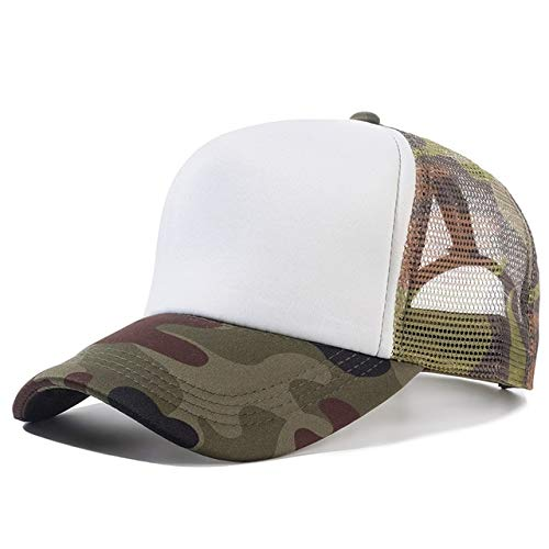 1 Uds, Gorra Unisex Informal, Gorra de béisbol de Malla Lisa, Sombreros Ajustables para Mujeres, Hombres, Gorra de Camionero de Hip Hop, Gorra de papá-Camouflage White-54cm-60cm