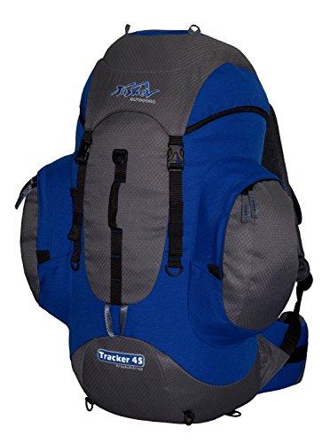 Tashev Outdoor Tracker Sac à dos de trekking Sac à dos de randonnée pour homme et femme Grand sac à dos 45 L (fabriqué en UE), TRACKER 45L, Gris et bleu.