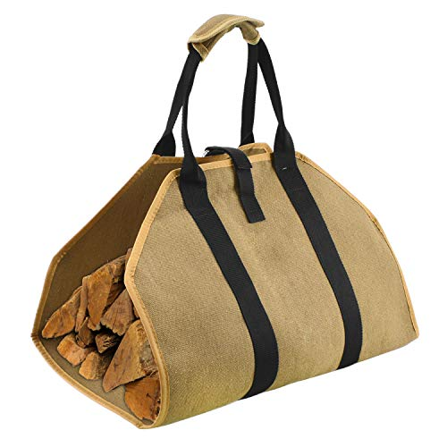 Geboor Firewood Carrier Log Tote Bag Canvas Fire Wood Holder Fireplace Wood Stove Accessories Padded Handle Storage Bag