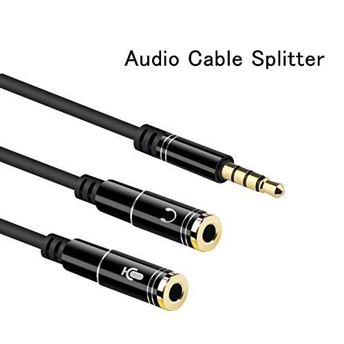 EasyULT Headset Splitter Mikrofon Adapter, Kopfhörer Adapter Splitter, Audio Y Splitter Kabel 3.5mm Stecker auf 2X 3.5mm Buchse Headset Stereo Audio Klinke für Smartphones, Laptop und usw