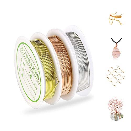 GZGXKJ 3 Rotoli 1mm Filo di Rame Dorato Filo Metallico Filo per Gioielli Calibro filo di rame sottile per produzione di perle, artigianato e gioielli(Colore: Oro Rosa, Argento, Oro)