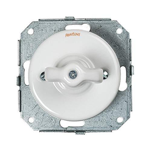 Fontini 31302173 - Mando de porcelana para lavabo y mando doble, color blanco