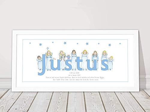 Personalisiertes Baby Geschenk, Schutzengel, Geburt, Taufgeschenk Junge, Geburtstag, Namensbild, Kinderzimmerbild, Format 53 x 26 cm