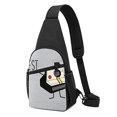 Alomama Best Friends Fun Vintage Camera Sling Backpack Sling Bag Black Crossbody Daypack Casual Backpack for Travel, Hiking, Cycling, Camping for Women & Men
