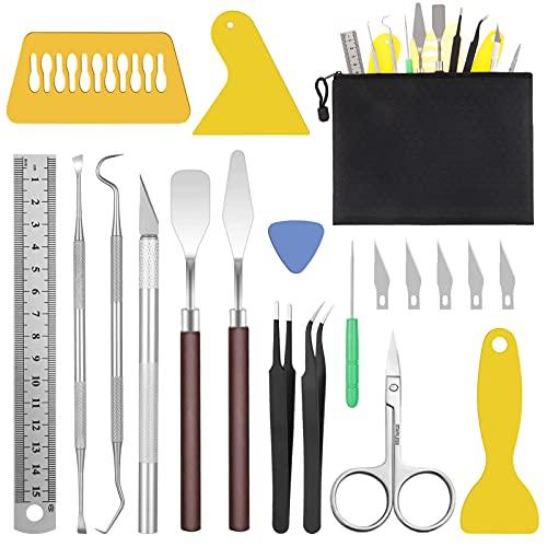 Chutoral 25Pcs Vinyl Weeding Tools, DIY Craft Weeding Tools Set, Stainless Steel Plotter Accessories, Including Weeding Hooks, Tweezers, Spatulas for Silhouette