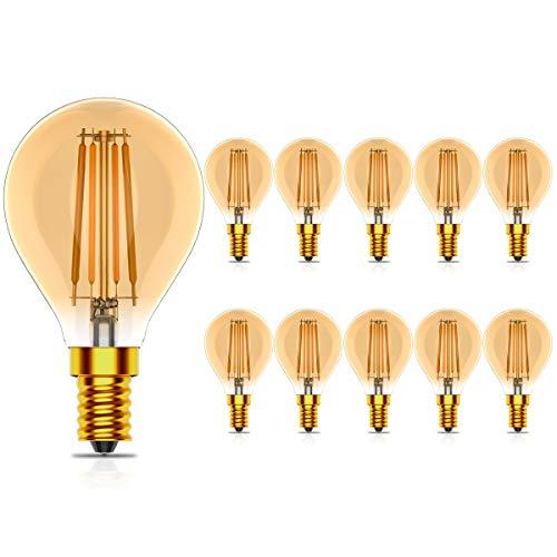 Tuoplyh 10 Unidades Vintage Bombillas Filamento LED E14 (Casquillo Fino) 4W Equivalente a 40W, 400 Lúmenes, Blanco Cálido 2700K,No Regulable,CRI>80