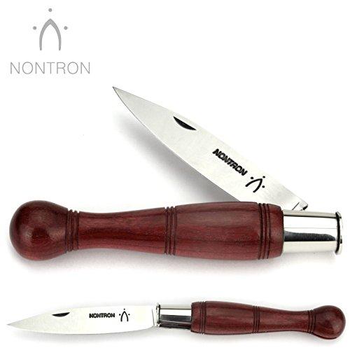 Nontron Messer - 12 cm - Griff Amaranth Holz - Klinge XC75 Carbonstahl - Taschenmesser Frankreich - Brotzeitmesser mit Klingenfixierung Ferrule