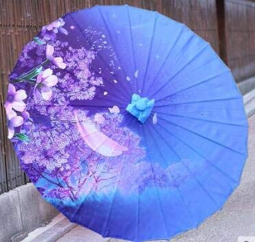 BDWS Paraguas Clásico Paraguas de Papel engrasado de Seda Antiguo Ventilador de Techo decoración Baile Paraguas Lluvia parapulia sombrillaAzul Zafiro