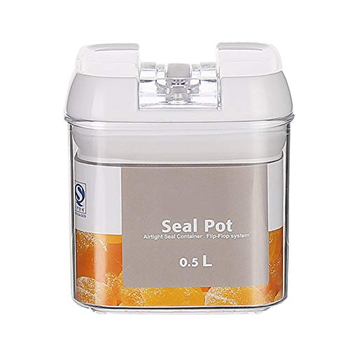 Macabolo kunststof bewaardozen voor levensmiddelen, 0,5 liter, 0,8 liter, 1,2 liter, afdichting graan, glas, gedroogde vrucht, jam, bewaardoos, Easy Lock-deksel, om levensmiddelen vers te houden 0.5L wit