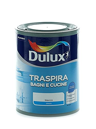 Dulux Pittura per Interni Traspirante per Forte Umidità e Vapore, Buon Profumo, Ottimo per Cucina e Bagno, 1 Litro, Bianco