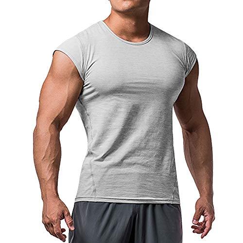 Herren Sportlich T-Shirts Tees Kurz Ärmel Muskel Schnitt zum Bodybuilding Trainieren Ausbildung Fitness Tops Crew Hals Baumwolle
