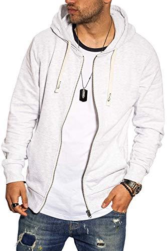 JACK & JONES Herren Sweatjacke Hoodie Kapuzenjacke Sweatshirt Kapuzenpullover (Medium, White Melange)