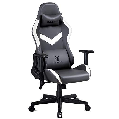 Dowinx Gaming Stuhl Hohe Rückenlehne Retro-Stil mit Kopfkissen und Massage Lendenwirbelstütze Bürosessel PU-Leder Verstellbarer Drehsessel Ergonomischer PC-Stuhl (Grau)