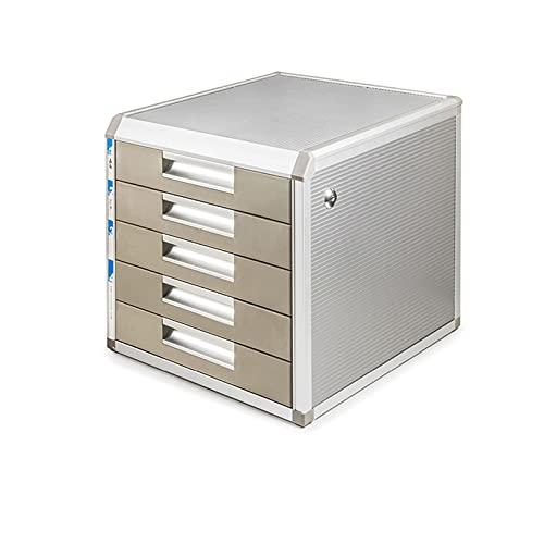 BXYXJ Archivador De Escritorio con Cerradura, Cajonera 4/5, Caja De Almacenamiento A4, para Oficina, Hogar, Aleación De Aluminio, Completamente Ensamblado (Size : 5-Drawers)