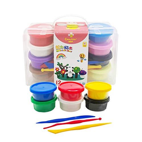 LHY Modeling Clay Kit, 12 Colors Air Dry Clay with DIY Tools and Box Set, Best Gift for Children Kids Toys