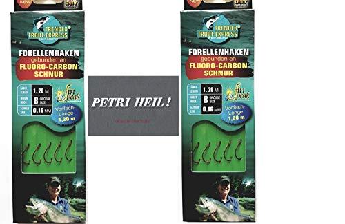 .Behr Set: 2 Packungen gebundene Forellenhaken (10 Stück) an Fluoro-Carbon Schnur, Hakengröße 8 + gratis Petri Heill! Aufkleber