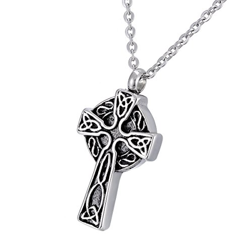 SG Cremation Jewelry Urn Necklace for Ashes Celtic Knot Cross Pendant Memorial Keepsake