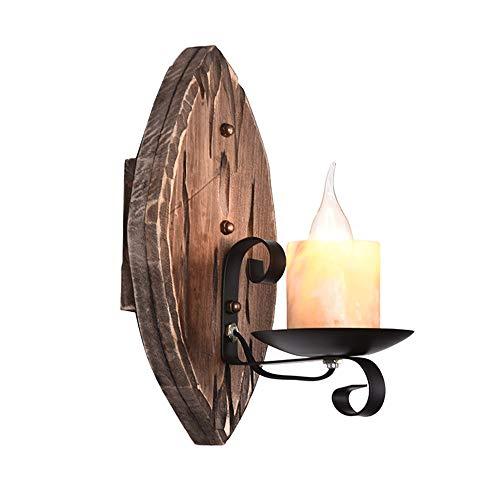 Vintage bougie Lampe Murale rétro en métal fer lumière de Mur loft style noir lampe de mur design industriel mur lampe antique en bois décoration couloir Applique muralede chevet éclairage mural H30cm