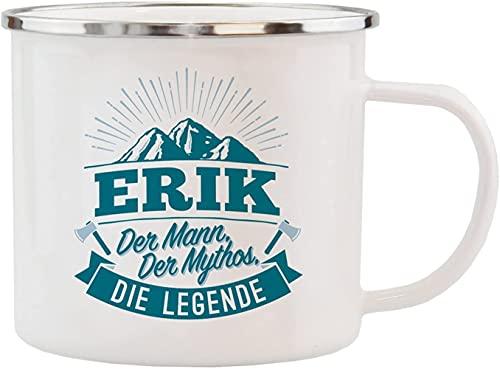 History & Heraldry Echter Kerl - Emaille Becher Erik - individuelle Tasse mit Name und Spruch