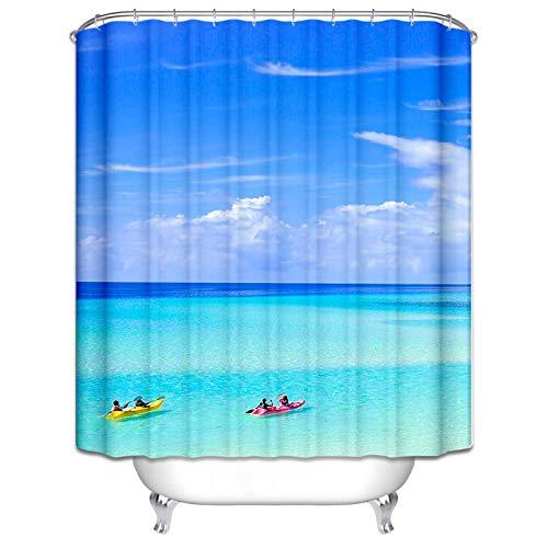 Daesar Wasserdicht Duschvorhang 180x200 cm Meer Boot Duschvorhang Antischimmel aus Polyester-Stoff