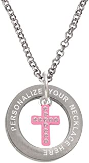 Small Pink Crystal Cross Custom Engraved Affirmation Ring Necklace