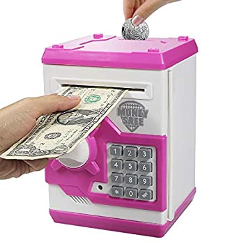 Samate Cartoon Electronic ATM Password Piggy Banks New Great Gift Toy for Children Kids Can Auto Scroll Paper Money for Children Fun Toy  Pink1