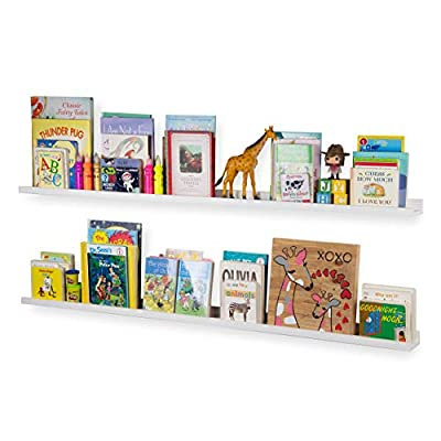 Wallniture Denver 60 Inch Floating Shelves for Wall, White Bookshelf for Kids' and Nursery Room Decor, Picture Ledge Shelf Set of 2