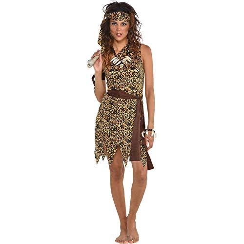 amscan Neanderthalerin - Höhlenfrau Steinzeit Kostüm Karneval Fasching Damen