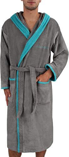 """Herren Bademantel """"Rob"""" Sauna-Mantel mit Kapuze aus Reiner Baumwolle Oko Tex Standard 100 in Geschenk-Box Farbe Grau/Petrol Größe 3XL"""